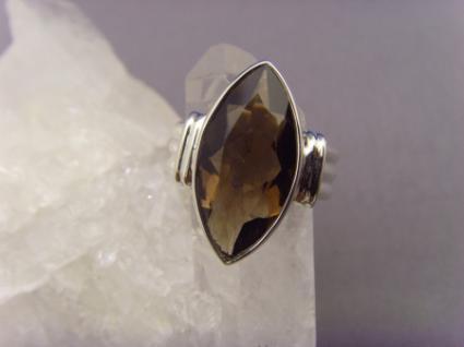Rauchquarz - Ring 925er Silber Facettenschliff - Navettenform - Vorschau 1