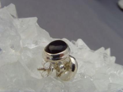 Onyx - Ohrstecker oval 925 er Silber