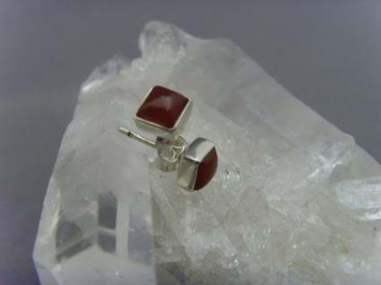 Ohrstecker-Karneol quadratisch - 925er Silber