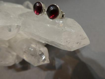Rhodolith-Granat Ohrstecker - rund - 925er Silber