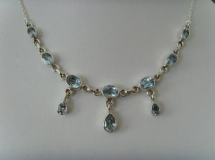 Blautopas-Collier 10 Steine 925 er Silber - Vorschau 2