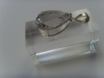 Bergkristall-Anhänger 925er Silber Tropfenform