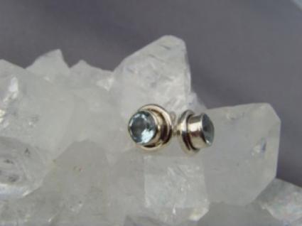 Blautopas - Ohrstecker rund 925 er Silber