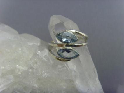 Blautopas - Ring 925er Silber Navettenform