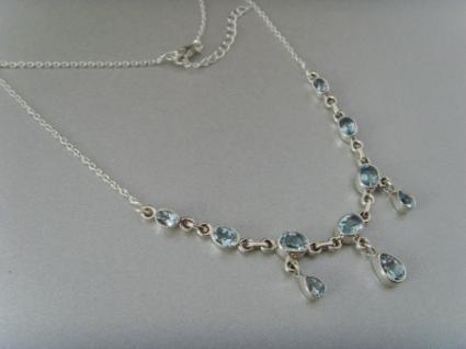 Blautopas-Collier 10 Steine 925 er Silber