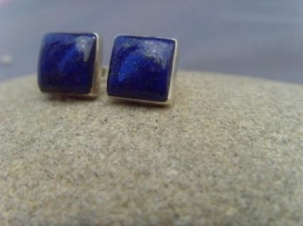 Lapis-Lazuli Ohrstecker - quadratisch - 925er Silber