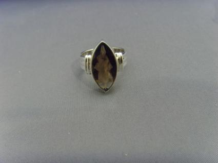 Rauchquarz - Ring 925er Silber Facettenschliff - Navettenform - Vorschau 3
