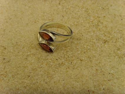 Granat Ring 925er Silber Navettenform - Vorschau 3