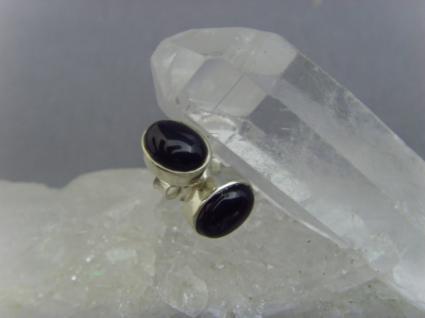 Ohrstecker-schwarzer Onyx oval - 925er Silber