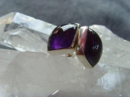 Amethyst - Ohrstecker quadratisch 925er Silber