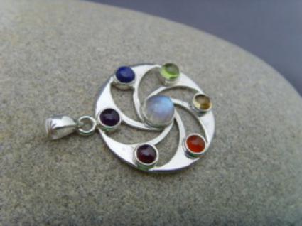 Chakra - Anhänger runde Form 925er Silber - Vorschau 3