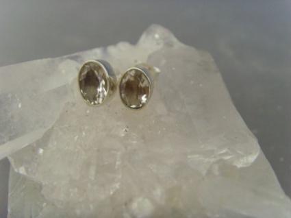 Ohrstecker-Bergkristall facettiert - oval - 925er Silberl