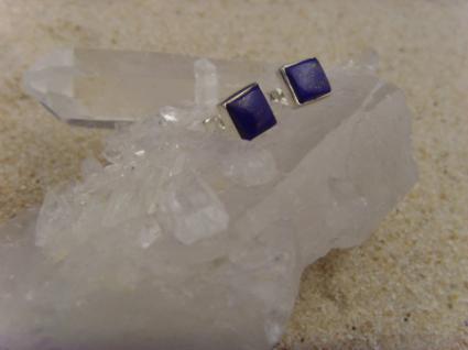Lapis Lazuli Ohrstecker - quadratisch 925 Silber