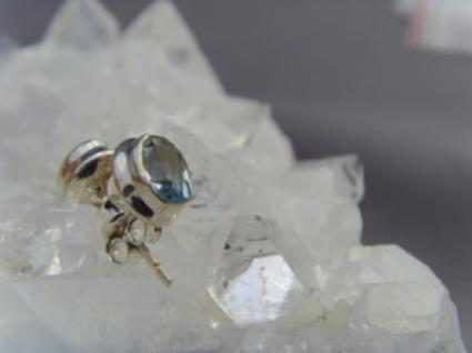 Blautopas - Ohrstecker oval facettiert 925 er Silber