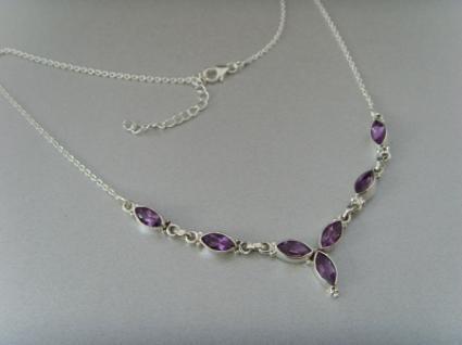 Amethyst - Collier Navettenform - Silber 925