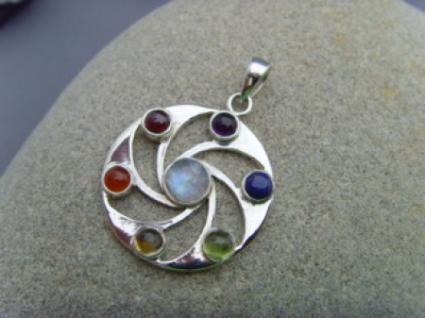 Chakra - Anhänger runde Form 925er Silber