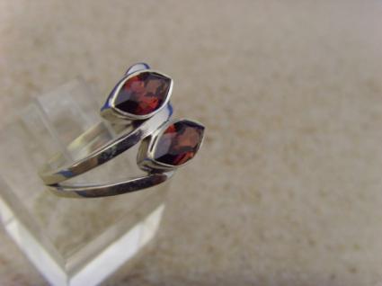 Granat Ring 925er Silber Navettenform