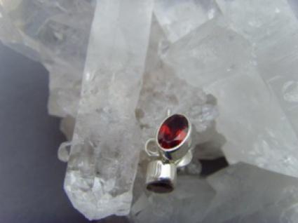Granat - Ohrstecker oval facettiert 925 er Silber