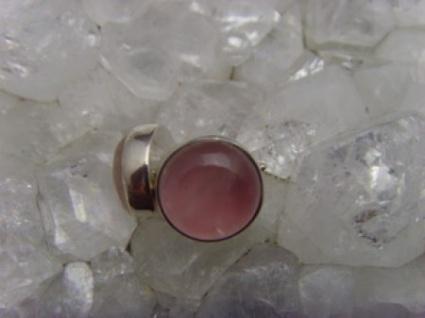 Ohrstecker Rosenquarz rund - 925er Silber