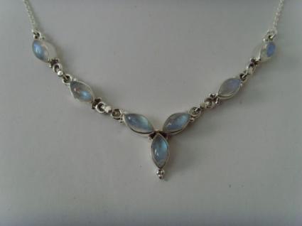 Mondstein - Collier Navettenform - Silber 925