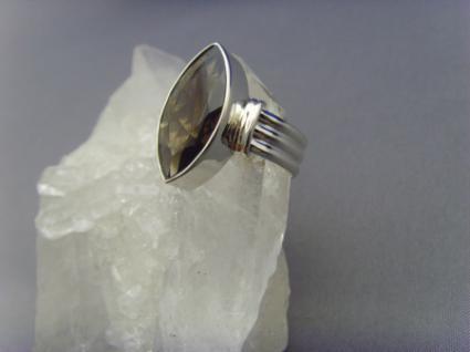Rauchquarz - Ring 925er Silber Facettenschliff - Navettenform - Vorschau 2