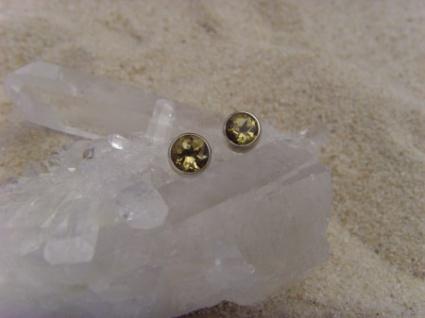 Citrin Ohrstecker - rund - 925 Silber