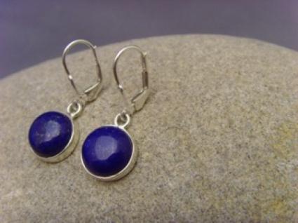 Lapis - Lazuli 0hrhänger 925 er Silber runde Form - Vorschau 4