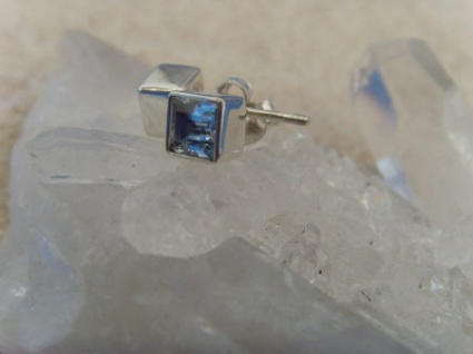 Ohrstecker Blautopas facettiert - quadratisch 925 Silber