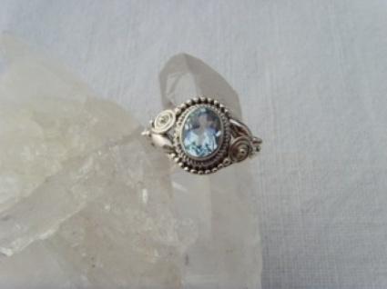 Blautopas-Ring filigrane Handarbeit 925er Silber