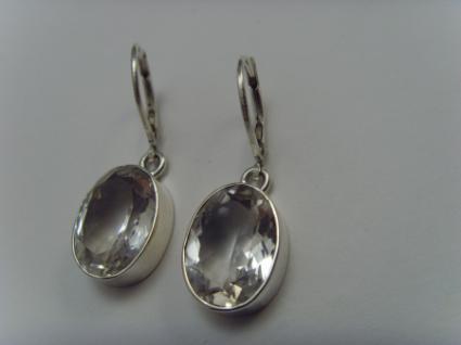 Bergkristall-Ohrhänger 925er Silber ovale Form - Vorschau 2