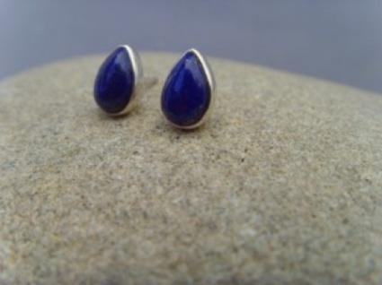 Lapis-Lazuli Ohrstecker - Tropfenform - 925er Silber