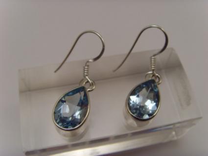 Blautopas-Ohrhänger 925er Silber Tropfen-Form