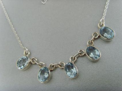 Blautopas-Collier - 925er Silber