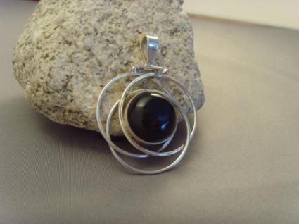 Onyx-Anhänger 3 Ringe - 925er Silber