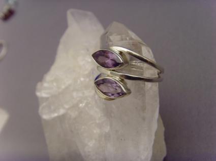 Amethyst - Ring 925er Silber Navettenform - Vorschau 2