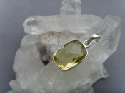 Lemon Quarz Anhänher rechteckige Form 925 er Silber
