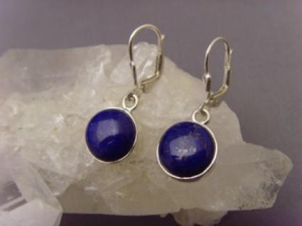 Lapis - Lazuli 0hrhänger 925 er Silber runde Form - Vorschau 2
