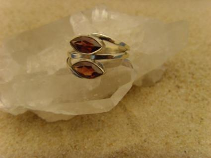 Granat Ring 925er Silber Navettenform - Vorschau 2