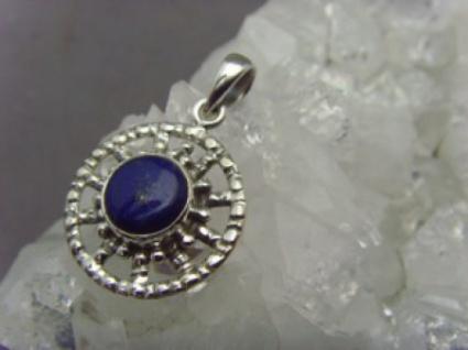 Lapiz-Lazuli Anhänger - 925er Silber - rund