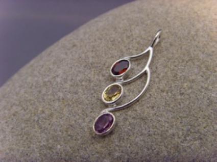 Eleganter multicolor Edelsteinanhänger - 925er Silber