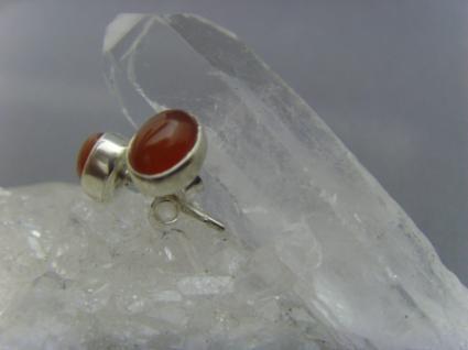 Ohrstecker-Karneol oval - 925er Silber