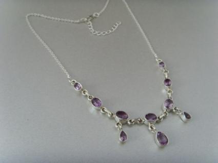 Amethyst - Collier 10 Steine 925 Silber