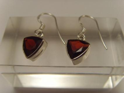 Granat-Ohrhänger 925er Silber dreieckige-Form