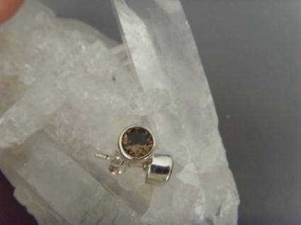 Ohrstecker-Rauchquarz facettiert - rund - 925er Silber