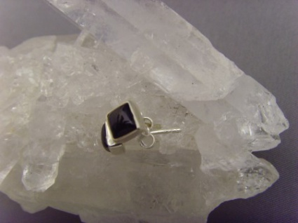 Ohrstecker schwarzer Onyx - quadratisch 925 Silber