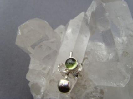 Peridot Ohrstecker - rund - 925 er Silber
