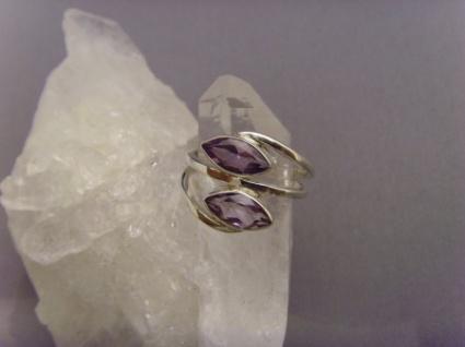 Amethyst - Ring 925er Silber Navettenform