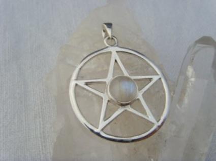 Pentagramm - Mondstein 925er Silber