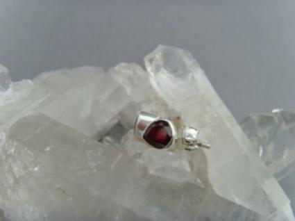 Granat - Ohrstecker Herzform facettiert 925 er Silber