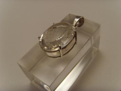 Bergkristall-Anhänger 925er Silber ovale Form